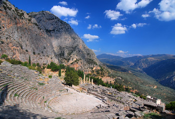 Delphi ancient ruins, Parnassus mountains, Greece