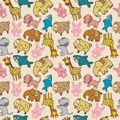 Seamless cartoon animal pattern