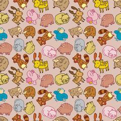 Seamless cartoon animal pattern,(vector)