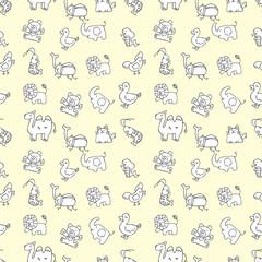 seamless cute animals pattern,vector illustration