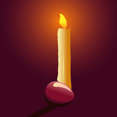 vector illustration with candle and easter egg