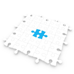 White puzzle floor with a blue piece