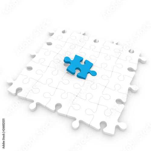 White puzzle floor with a blue piece half inserted