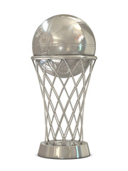 Silver basketball award trophy with ball and net