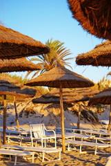 Umbrellas on Tunisian beach