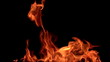 Fire flame - black background. 8x slow motion (200 fps). HD