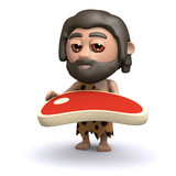 3d Caveman holds a steak