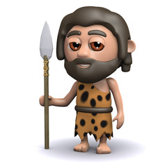 3d Caveman goes hunting with spear
