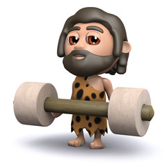 3d Caveman lifts some weights