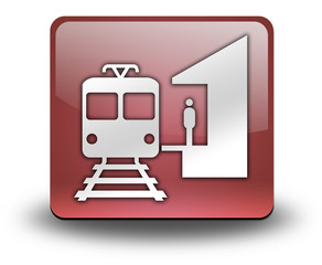 "Red 3D Effect Icon ""Train Station"""