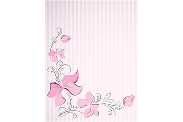 layout with a pink flower border and pink stripes background