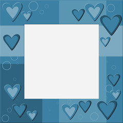 Blue frame with hearts