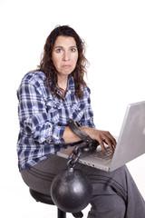 Woman computer chain sad