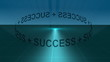 3d animation showing success words turning in blue space