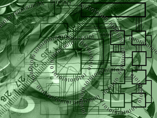 Abstract business background in greens