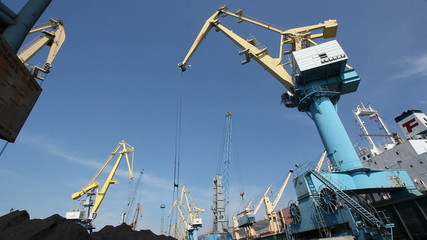 Loading cranes in cargo port