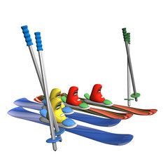 Mountain skiing with fastenings, boots, mountain-skiing sticks