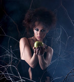 Fashion photo of a young brunette in a dark bizarre dress poster