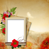 Fototapety Vintage background in grunge style with poppy flowers and frames