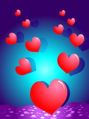 Symbols of heart in a colour background