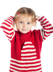 Little girl on striped sweater
