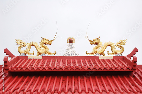 close up of roof temple with cloudly sky