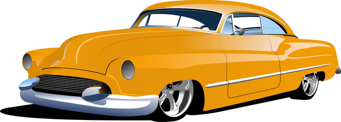 Fifty years old  yellow sedan. Vector illustration