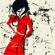roleta: Woman in red dress