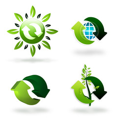 set of green recycling symbols