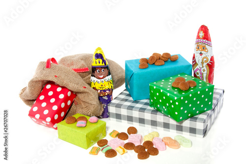 Dutch Sinterklaas celebration with gifts and candy gingernuts is