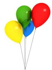 Bright ballons over white