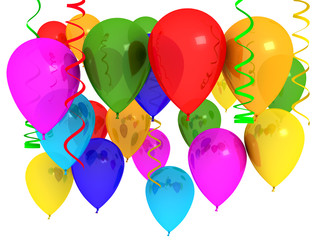 Bright ballons over white