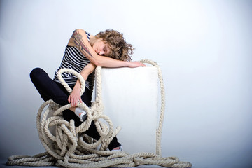 Pretty woman sailor sleeping