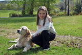 pretty young girl with her dog - Fine Art prints