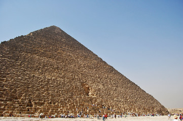 Wide angled view of the Great Pyramid of Giza, Egypt.