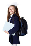 schoolgirl with backpack isolated on white - Fine Art prints