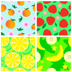 Set of fruits seamless