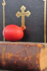 Easter eggs on a book