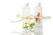 Shampoo und Lotion mit grünem zweig