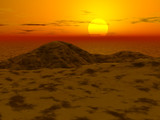 3d landscape - sunset