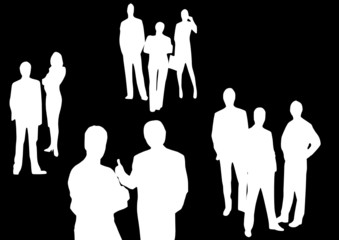 business people standing on a black background