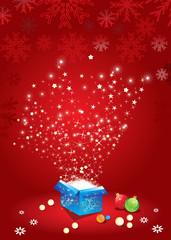 abstract magic box with christmas ball