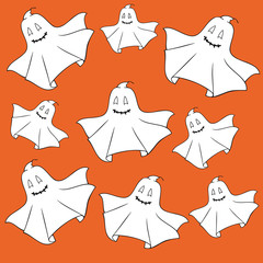 Ghosts on orange background.