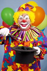 Clown Does Magic Trick