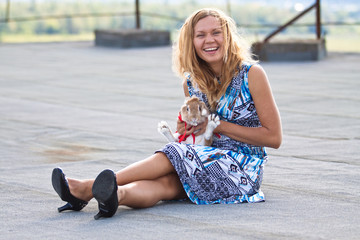 Girl with rabbit.