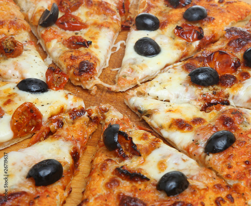 Pizza with Mozzerella, Tomatoes and Olives
