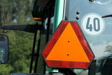 Warning triangle on tractor