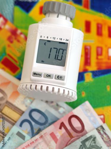 Heizungsregler mit Geld und Wärmebild V