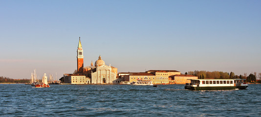 Panoramic view on Grand Canal and San Giorgio Maggiore church.