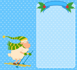 Cartoon funny skier sheep